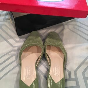 Green suede slides from Talbots - size 5